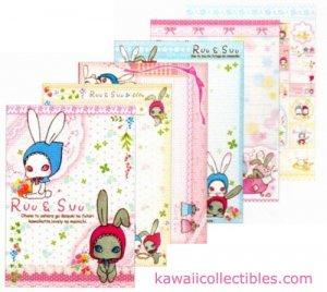 Kawaii San-X Japan Ruu & Suu Bunny Rabbit Memo Pad w/ Stickers B