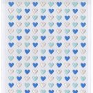 Kawaii Mind Wave Japan Blue & Silver Metallic Micro Hearts Sticker Sheet RARE