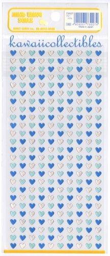 Kawaii Mind Wave Japan Blue & Silver Metallic Micro Hearts Sticker Sheet RARE