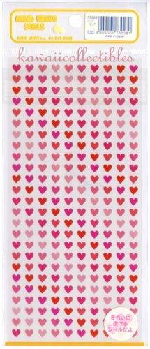 Kawaii Mind Wave Japan Pink & Red Micro Hearts Sticker Sheet RARE