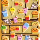 Kawaii Happy Food Burgers Puffy Sponge Sticker Sheet NEW