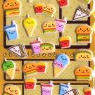 Kawaii Happy Food Burgers Puffy Sponge Sticker Sheet NEW