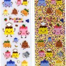 Kawaii Flan Puirn Pudding House Clear & Glitter Sticker Sheets NEW