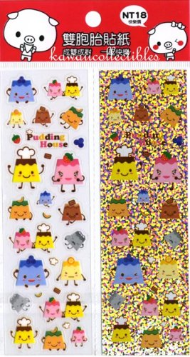 Kawaii Flan Puirn Pudding House Clear & Glitter Sticker Sheets NEW