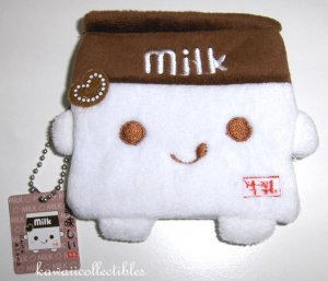 Kawaii Plush Milk Change Coin Purse Chocolate BROWN NWT