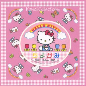 Kawaii Sanrio Hello Kitty Origami Folding Paper Pink Gingham NIP