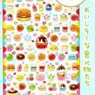 Kawaii Q-lia Japan Smile Pocket Happy Foods Glitter Sparkly Stickers Sticker Sheet NEW