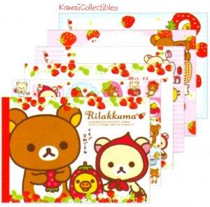 Kawaii San-x Japan Rilakkuma Strawberry / Little Red Riding Hood Memo Pad w/ Stickers NEW (A)