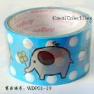 Kawaii Angoo Wide Deco Tape Blue Elephant w/ Clover NEW
