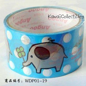 Kawaii Angoo Wide Deco Tape Blue Elephant w/ Clover NEW
