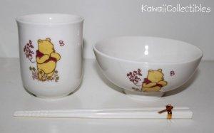 Classic Winnie the Pooh Porcelain Bowl Cup Chopsticks Set NIB