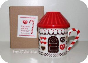 Kawaii Decole Gingerbread House Mug RED w/ Lid & Tea Strainer NIB