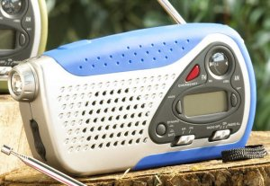 5-in-1 Emergency Crank Radio - Cell Charger, Flashlight, Siren, Clock - Blue