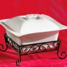 2 Qt. *Unique* Square Casserole Dish with Lid and Rack - White