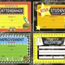 Teachers! 12 Certificates & Sticker Seals Set Award Lot - Attendance, Improvement, and MORE!