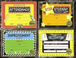 Teachers! 12 Certificates & Sticker Seals Set Award Lot - Attendance, Improvement, and MORE!
