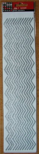 Self-Adhesive Sticker Borders - GLITTER ZIG ZAGS SILVER - Great for scrapbooking and more!