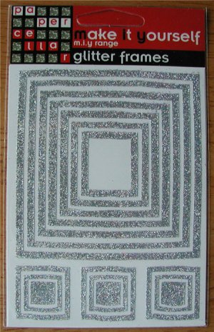 Self-Adhesive Sticker Frames - GLITTER SQUARES SILVER - Great for scrapbooking and more!