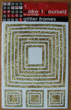 Self-Adhesive Sticker Frames - GLITTER SQUARES GOLD - Great for scrapbooking and more!