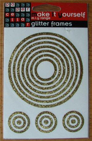 Self-Adhesive Sticker Frames - GLITTER CIRCLES GOLD - Great for scrapbooking and more!