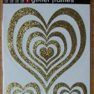 Self-Adhesive Sticker Frames - GLITTER HEARTS GOLD - Great for scrapbooking and more!