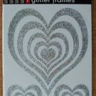 Self-Adhesive Sticker Frames - GLITTER HEARTS SILVER - Great for scrapbooking and more!