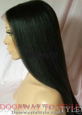 "16"" #1b---Yaki Straight 100% Indian Remy Full Lace Wig"