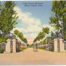 Miami Jockey Club, Hialeah Race Track Club Entrance, Miami, FL 1938 Curteich Postcard #0025