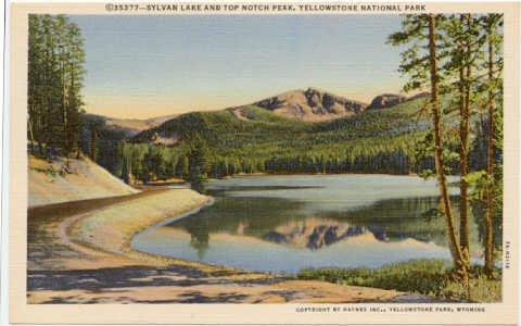 Sylvan Lake and Top Notch Peak, Yellowstone National Park Postcard  1937 WY #0074