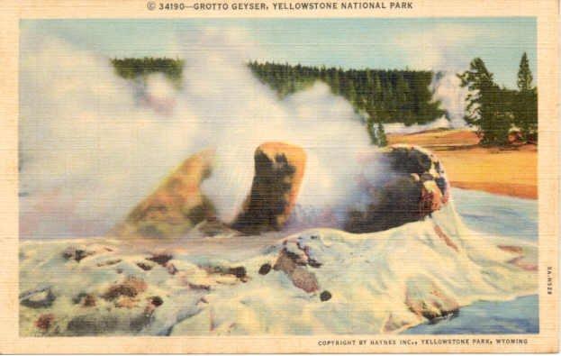 Grotto Geyser, Yellowstone National Park Postcard  1935 WY #0228
