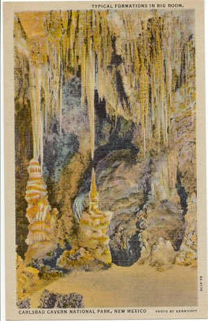 Carlsbad Cavern National Park, NM  Typical Formations in Big Room Postcard 1934   #0288