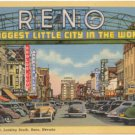 Virginia Street, Looking South, Reno, NV Entrance Sign Postcard 1941   #0280