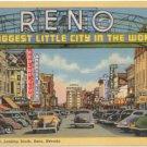Virginia Street, Looking South, Reno, NV Entrance Sign Postcard 1941   #0280