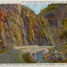 Curved Bridge  Lower Thompson Canon, Rocky Mountain National Park CO Postcard Circa 1930s #0065