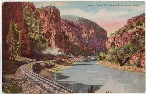 Echo Cliffs, Grand River Canon, CO Train tracks circa 1915 #0170
