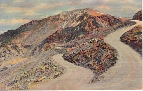 Switchbacks & Summit from Highway, Pike's Peak, CO Postcard 1935  #0219