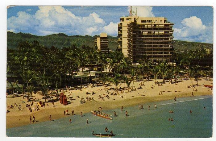 HILTON HAWAIIAN VILLAGE Waikiki HI Duke Kahanamoku Beach Postcard  circa 1950s #0292