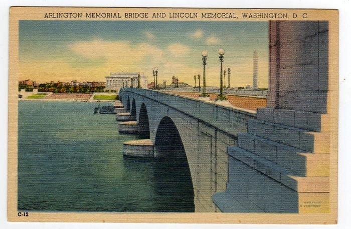 ARLINGTON MEMORIAL BRIDGE AND LINCOLN MEMORIAL Washington, DC Postcard circa 1930s #0306