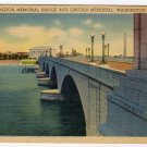ARLINGTON MEMORIAL BRIDGE AND LINCOLN MEMORIAL Washington, DC Postcard circa 1930s #0306