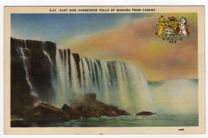East Side Horseshoe Falls of Niagara From Canada Linen Postcard   #0247