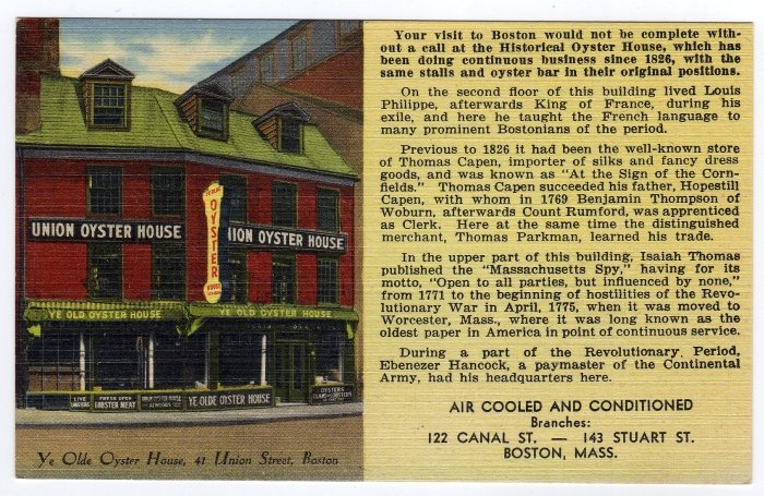 Ye Olde Oyster House Union St Boston, MA Linen Postcard Tichnor  #0341