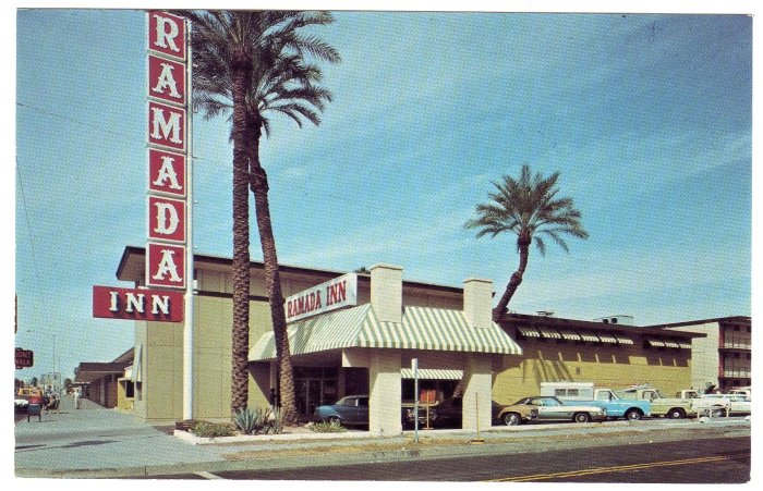 Ramada Inn  Phoenix, AZ  Postcard  Downtown cars circa 1960s  #0337