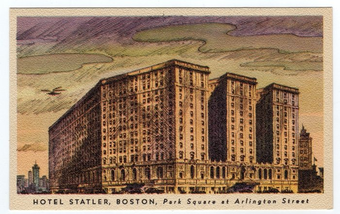 HOTEL STATLER, BOSTON, Park Square at Arlington Street,  MA Linen Postcard  #0343