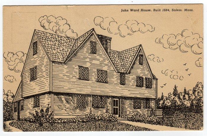 John Ward House Salem, MA Black and White Drawing Postcard  #0349