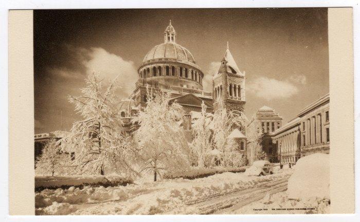 First Church of Christ, Scientist Boston, MA snow fall 1945 Sepia Postcard  #0344