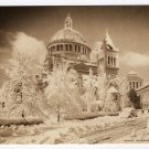 First Church of Christ, Scientist Boston, MA snow fall 1945 Sepia Postcard  #0344