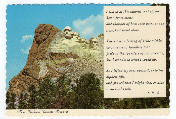 Mount Rushmore National Monument Postcard Prayer God's Will Dexter C. J. Tounsley photo  #0367