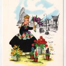 Girl with Flowers  Nelis Nurseries Holland MI  Vintage Advertising Postcard     #0421