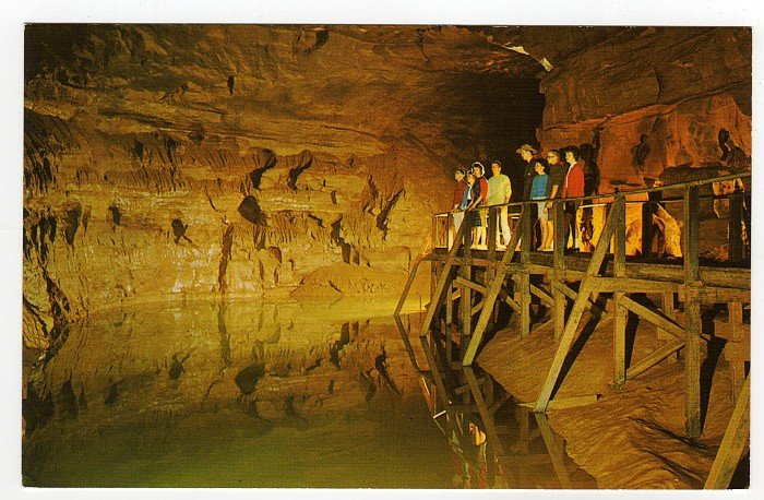 Lake Lethe in Mammoth Cave Postcard 1960s Mammoth Cave National Park, KY