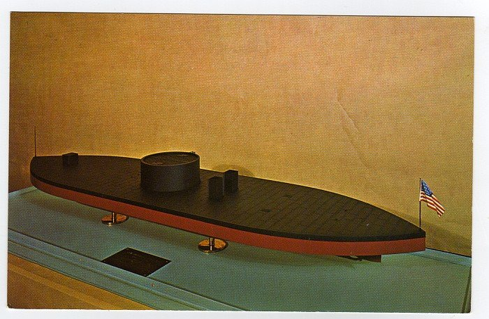 Monitor the Union ironclad model at Fort Monroe Casemate Museum VA postcard  #0475
